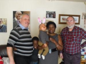 Del, Squashed Jude, Reuben, Christina and Querulous Bloke