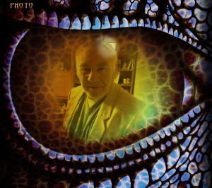 Mike reflected in the eye of his pet Dragon.