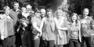Left to right... Stacey (Danny's partner) Danny ,eldest grandson Reuben, Me, Ugo Karen, Mike , Jo Yvonne, Jen & Lee