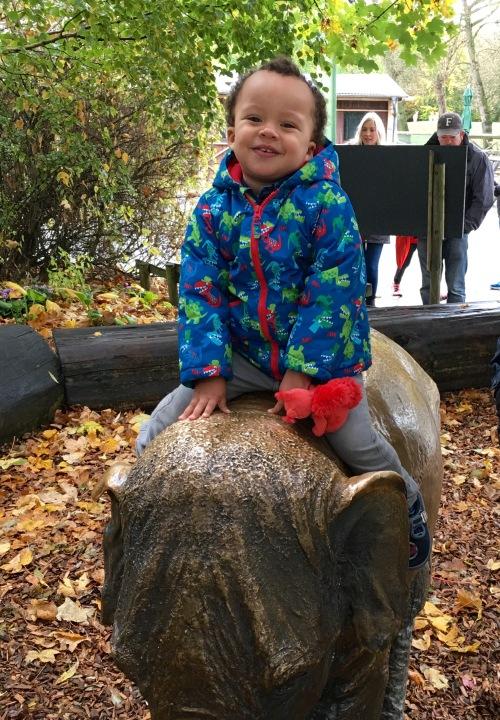 Elephant boy rides again.